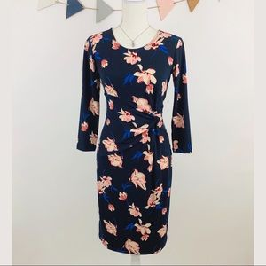 Ann Taylor Twist Front Floral Midi Dress